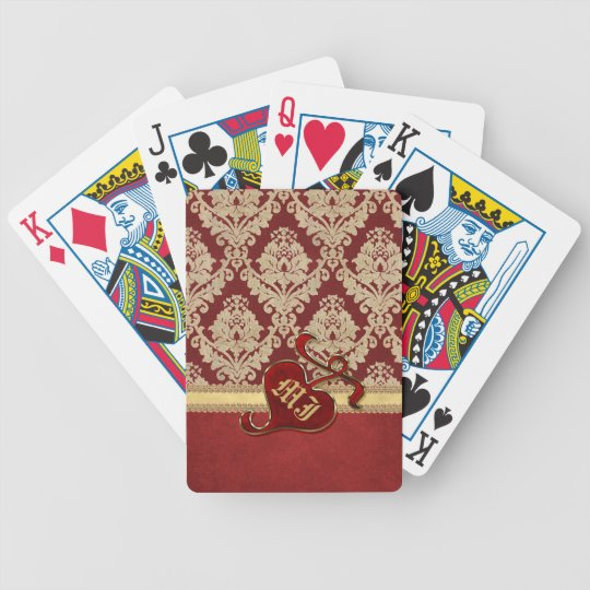 Monogrammed Antique Damask Gold Red Pomegranate Bicycle Playing Cards
