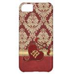 Monogrammed Antique Damask Gold Red Pomegranate iPhone 5C Case