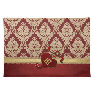 Monogrammed Antique Damask Gold Red Pomegranate Cloth Placemat
