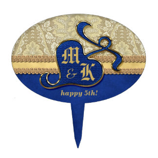 Monogrammed Antique Damask Gold Royal Blue Velvet Cake Topper