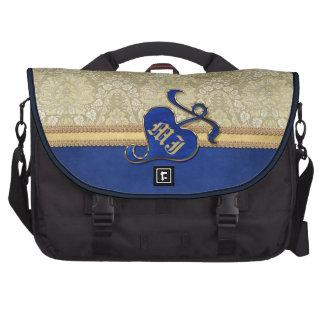 Monogrammed Antique Damask Gold Royal Blue Velvet Bag For Laptop