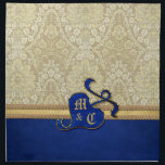 "Monogrammed Antique Damask Gold Royal Blue Velvet Napkin<br><div class=""desc"">A gorgeous, antique damask fabric featuring a stylized pomegranate, the apple of love during medieval times. Enjoy the rich textures and deep colors of this royal blue and gold design. Customize the bejeweled pomegranate with your initials. Add some elegant, old-fashioned Victorian charm to your day! Makes the perfect gift for...</div>"