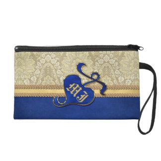 Monogrammed Antique Damask Gold Royal Blue Velvet Wristlet Purse