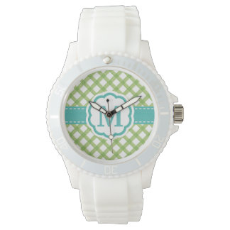 Monogrammed Aqua and Lime Green Green Gingham Wristwatch