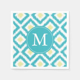 Monogrammed Aqua and Yellow Ikat Diamonds Pattern Disposable Napkin