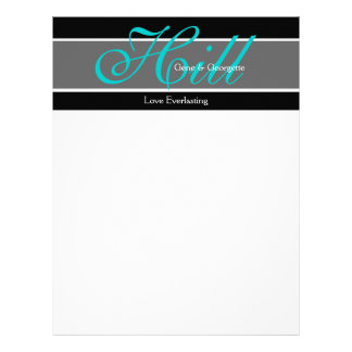 Monogrammed Aqua Black White Modern Letterhead