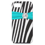 Monogrammed Aqua, Black, White Zebra Striped iPhone 5 Cases