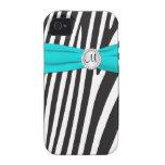 Monogrammed Aqua, Black, White Zebra Striped Vibe iPhone 4 Case