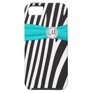 Monogrammed Aqua, Black, White Zebra Striped iPhone SE/5/5s Case