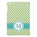 Monogrammed Aqua Blue and Lime Gingham Case For The iPad Mini