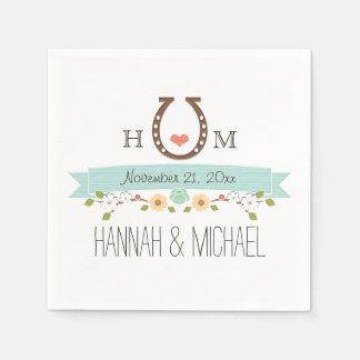 Monogrammed Aqua Blue Horseshoe Heart Wedding Standard Cocktail Napkin