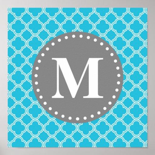 Monogrammed Aqua Blue Modern Quatrefoil Pattern Posters