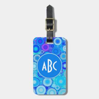 Monogrammed Aqua Blue Rings Mosaic Bag Tag