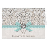 Monogrammed Aqua Blue Vintage Lace Note Cards