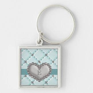 Monogrammed Aqua Faux Quilted Rhinestone Heart Key Keychain