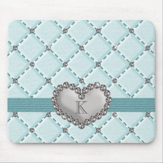 Monogrammed Aqua Faux Quilted Rhinestone Heart Mou Mouse Pad