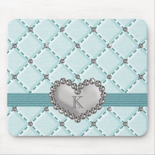 Monogrammed Aqua Faux Quilted Rhinestone Heart Mou Mousepad