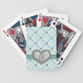 Monogrammed Aqua Quilted Heart Bicycle® Playing Ca Playing Cards