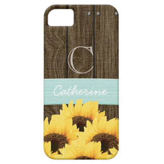 MONOGRAMMED AQUA RUSTIC SUNFLOWER iPhone SE/5/5s CASE