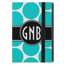 MONOGRAMMED AQUA TEAL POLKA DOTS PATTERN iPad MINI CASE