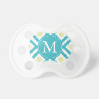 Monogrammed Aqua Yellow Ikat Pattern Pacifier