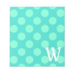 Monogrammed Aquamarine Dots Memo Pad