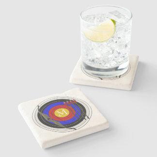 Monogrammed Archery Design Stone Coaster