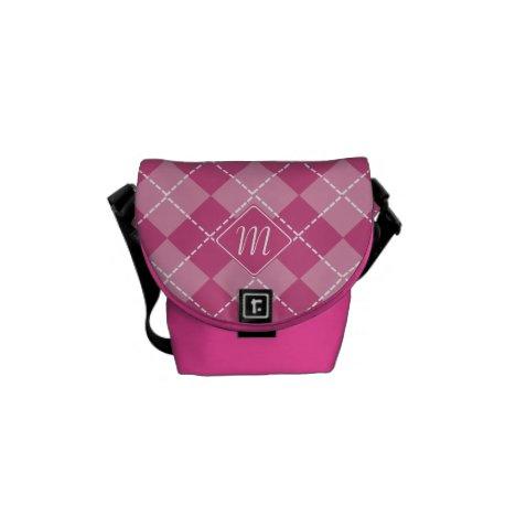 Monogrammed Argyle in Shades of Pink Messenger Bag