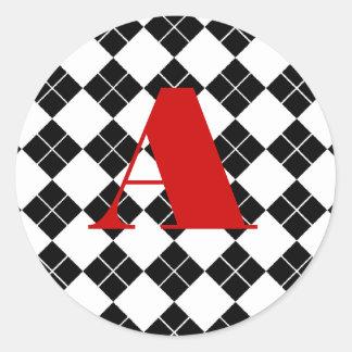 Monogrammed Argyle Classic Round Sticker
