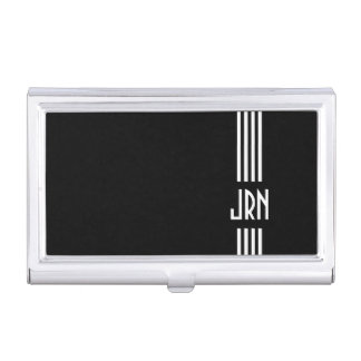 Monogrammed Art Deco | Black and White Business Card Holder