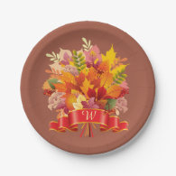 Monogrammed Autumn Leaves Paper Plates 7 Inch Paper Plate
