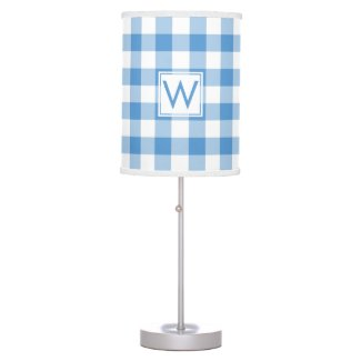 Monogrammed Baby Blue White Gingham Plaid Pattern Desk Lamp
