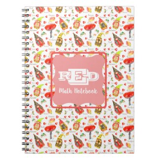 Monogrammed Back to School Gnomes and Mushroom Notebook
