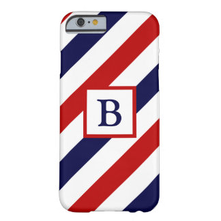 Monogrammed barber shop stripes barely there iPhone 6 case