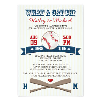 Monogrammed Baseball Couples Wedding Shower 5x7 Paper Invitation Card