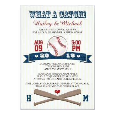 Valentines Themed Monogrammed Baseball Couples Wedding Shower Card