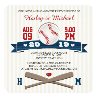 MONOGRAMMED BASEBALL ENGAGEMENT PARTY 5.25X5.25 SQUARE PAPER INVITATION CARD