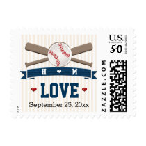 MONOGRAMMED BASEBALL LOVE WEDDING POSTAGE STAMP