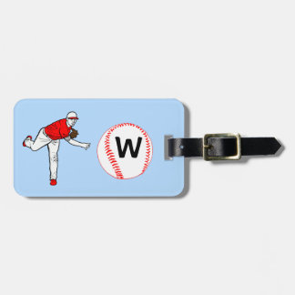 Monogrammed Baseball Pitcher Bag Tags