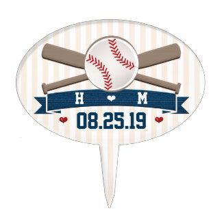 Monogrammed Baseball Wedding Cake Topper