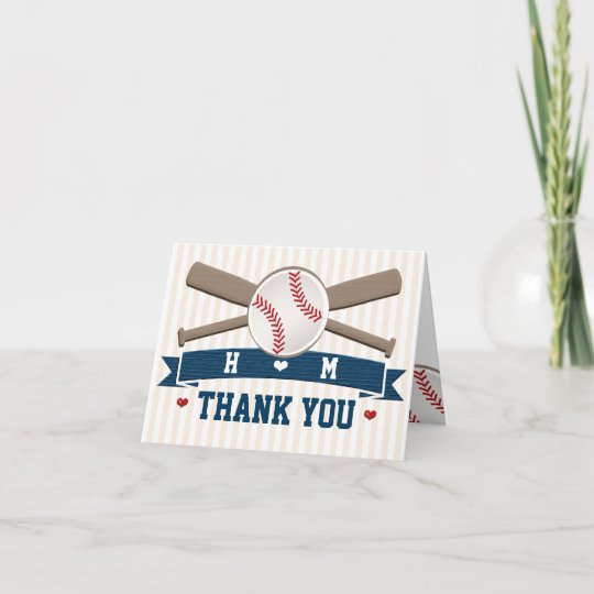 Monogrammed Baseball Wedding Thank You Zazzle