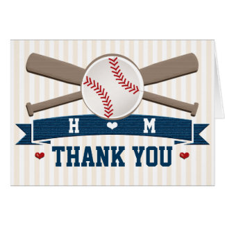 MONOGRAMMED BASEBALL WEDDING THANK YOU CARD