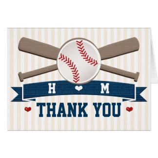 MONOGRAMMED BASEBALL WEDDING THANK YOU STATIONERY NOTE CARD