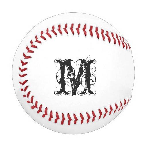 Monogrammed baseball with custom name initials zazzle for Personalized last name university shirts