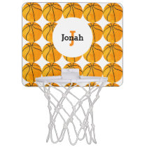 Monogrammed Basketball Pattern Sports Vintage Kids Mini Basketball Hoop