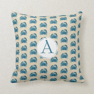 Beach Themed Monogrammed  beach Crab patterned in blue and tan Throw Pillow