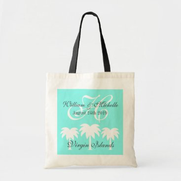 Beach Themed Monogrammed beach destination wedding tote bag