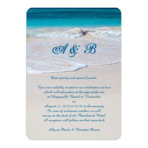 Monogrammed Beach Wedding Ceremony Invitations