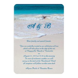 "Monogrammed Beach Wedding Ceremony Invitations 5"" X 7"" Invitation Card"
