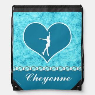 Monogrammed Beautiful Turquoise Figure Skater Drawstring Backpack